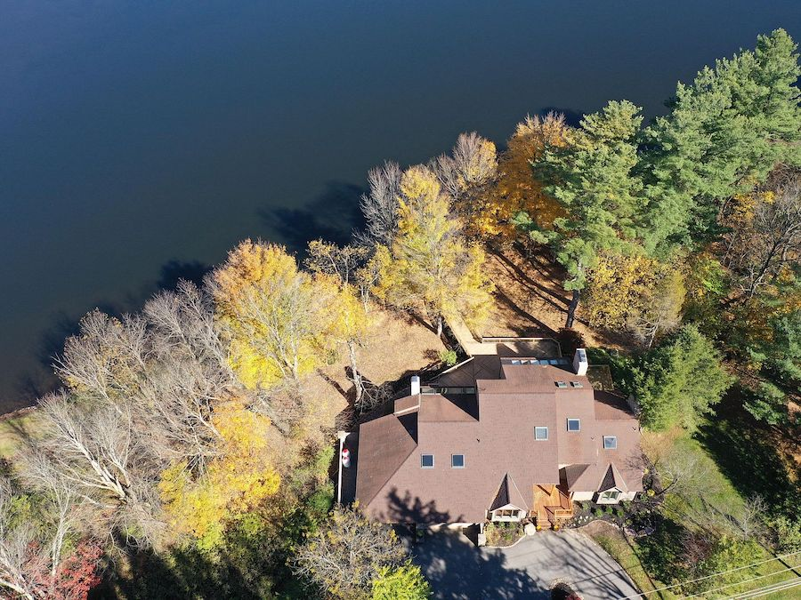 house for sale Lake Naomi contemporary aerial view