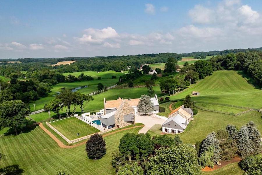 house for sale West Chester modern farm aeraal view