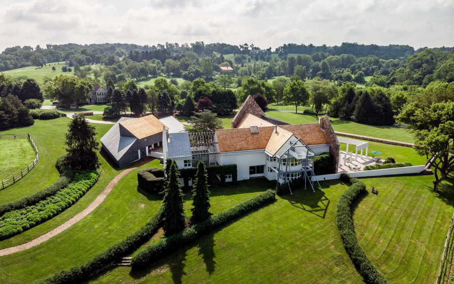house for sale West Chester modern farm rear aerial view