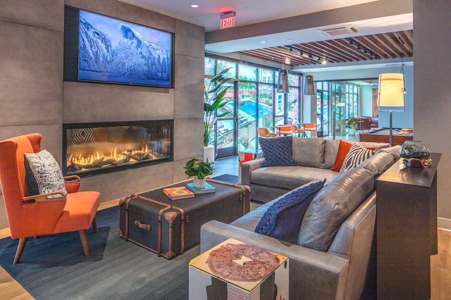 viewing lounge and fireplace in club room