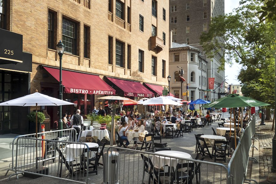 a philadelphia street shut down to allow for expanded outdoor dining in philadelphia this weekend
