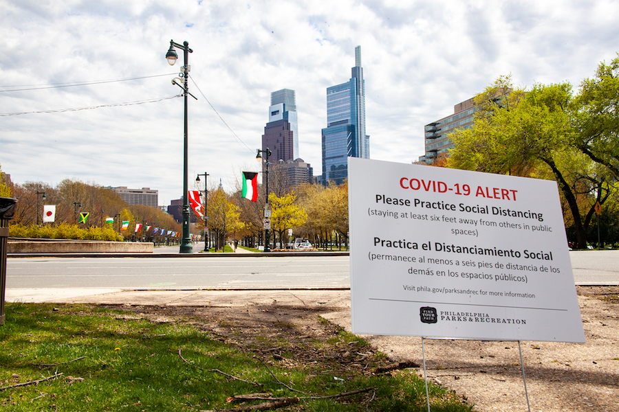 a COVID sign in Philadelphia, which has just announced new Philadelphia COVID restrictions