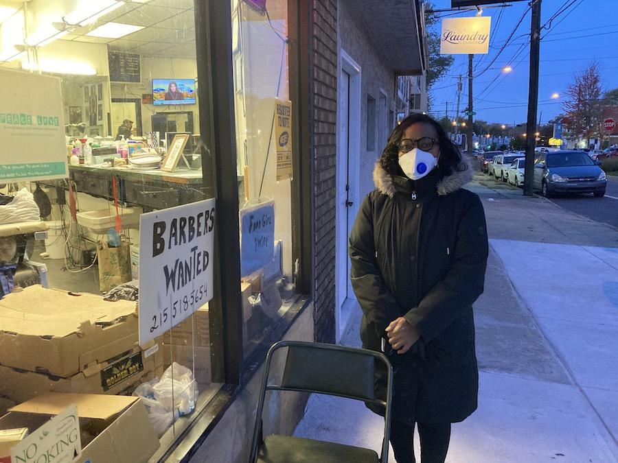 Philadelphia voter Denise Pettus outside her polling place in West Philadelphia on Election Day
