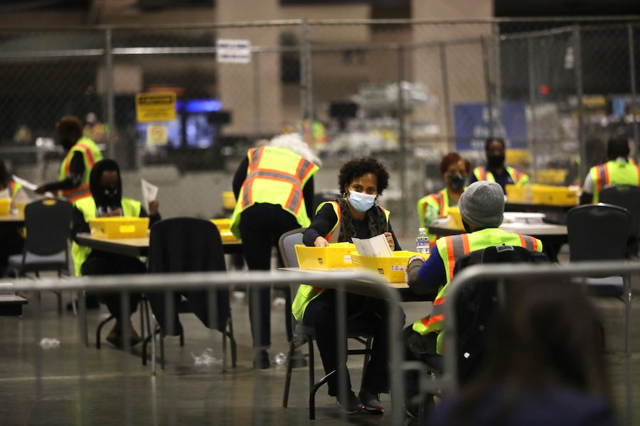 workers inside the Pennsylvania Convention Center, where Philadelphia votes are being counted to determine Pennsylvania election results