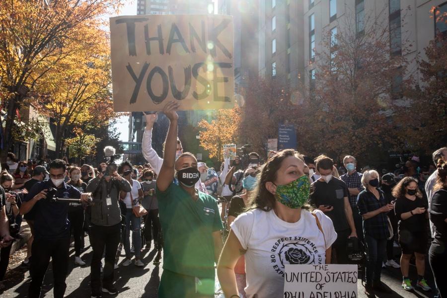 Grateful Philadelphians after the election was called for Biden