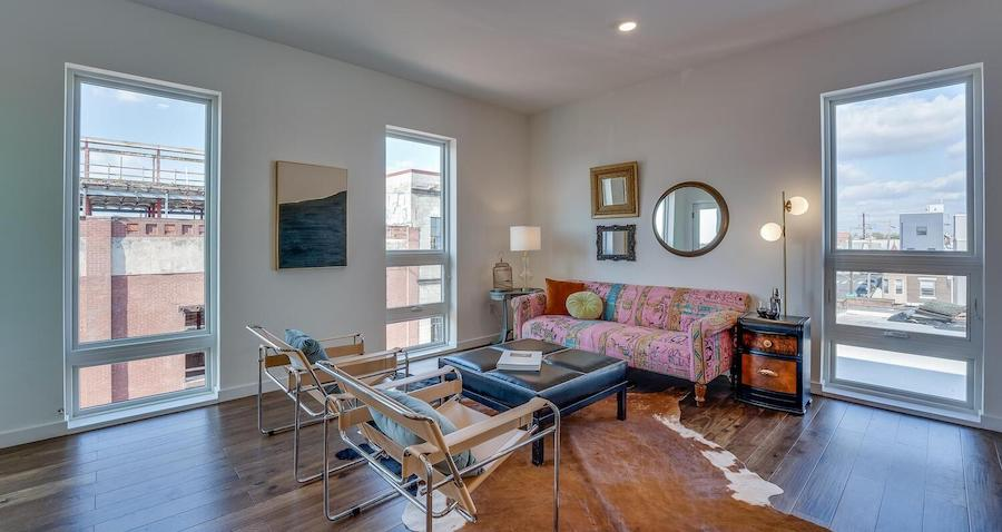 condo for sale Brewerytown penthouse living room