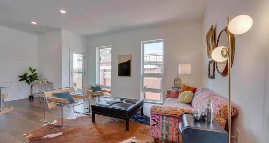 condo for sale Brewerytown penthouse living room, south side