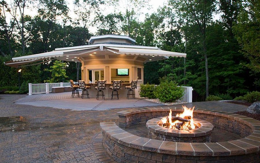cabana and fire pit