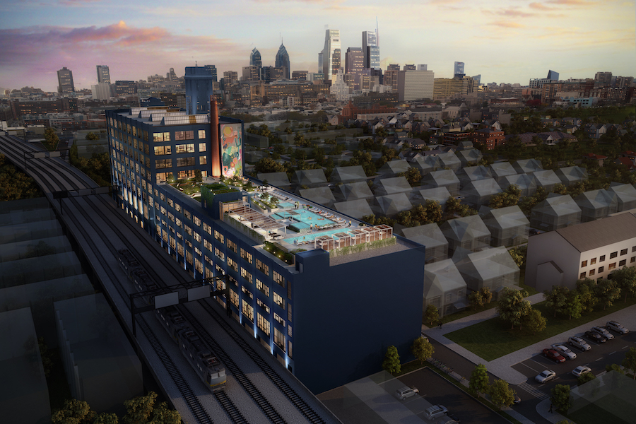 the poplar apartment profile aerial view of building and center city skyline