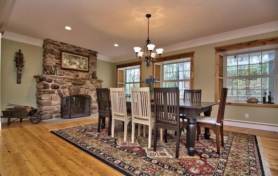 house for sale buck hill falls stone cottage dining room
