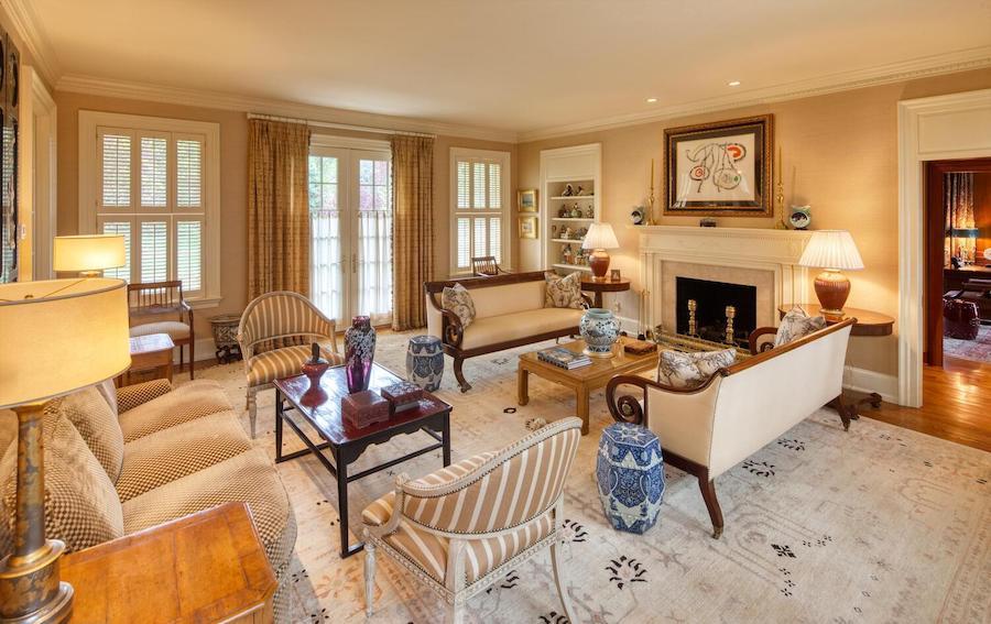 house for sale Gladwyne colonial farmhouse living room