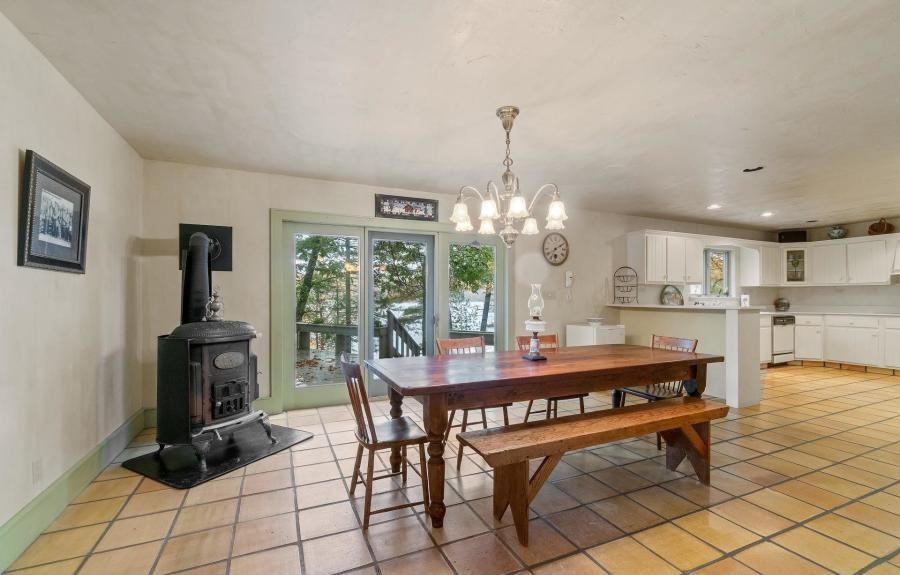 house for sale Milford lakefront Tudor dining area