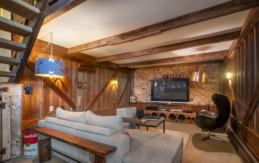 house for sale Phoenixville converted barn media room