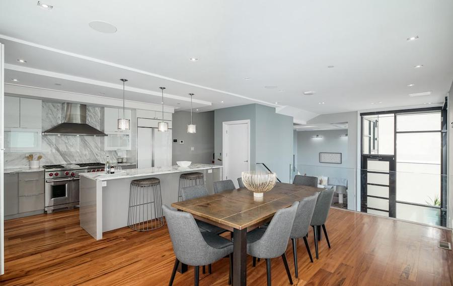 house for sale queen village modern townhouse dining room and kitchen