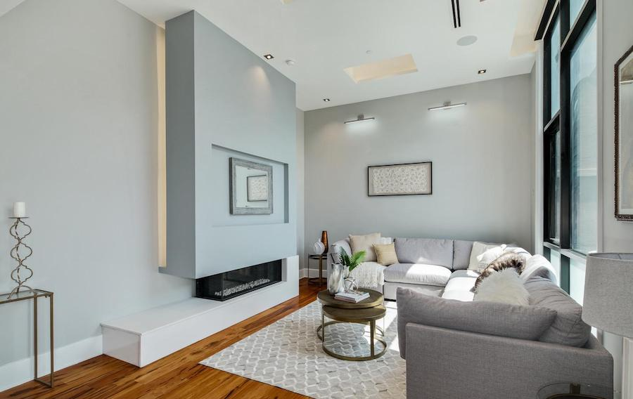 house for sale queen village modern townhouse living room