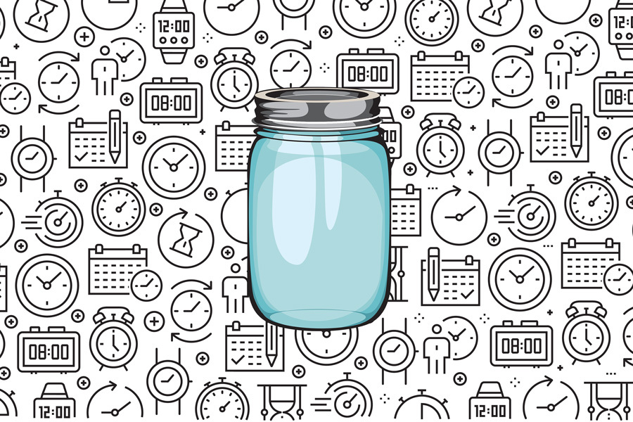 a jar against a background of clocks