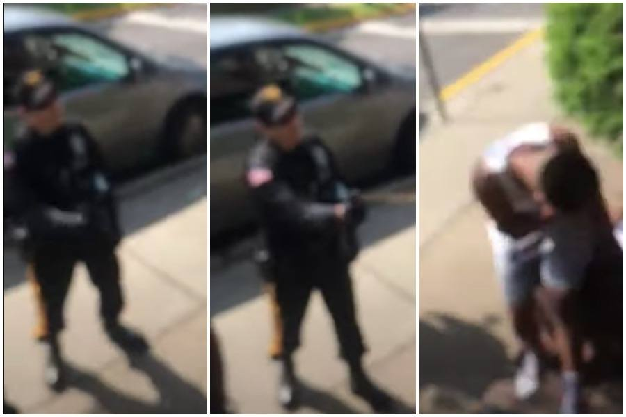 screen shots from a video of Ryan Dubiel deploying pepper spray against a Black teen who was just sitting on a step