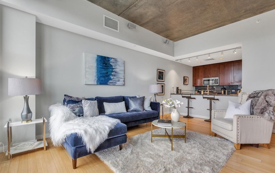 condo for sale old city penthouse great room and kitchen
