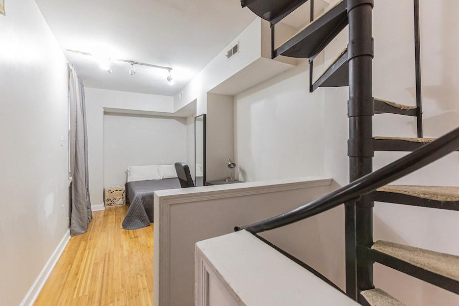 second-floor bedroom/living room