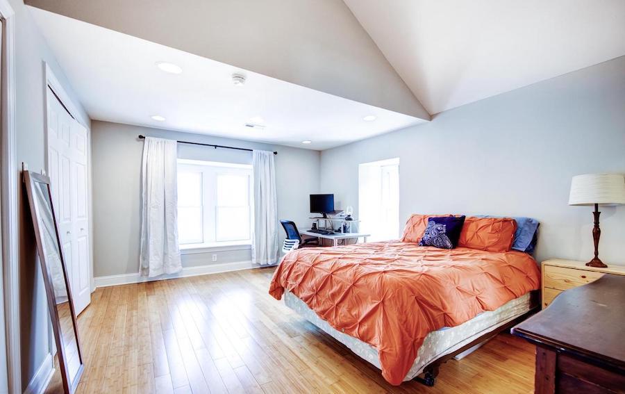 top-floor primary bedroom