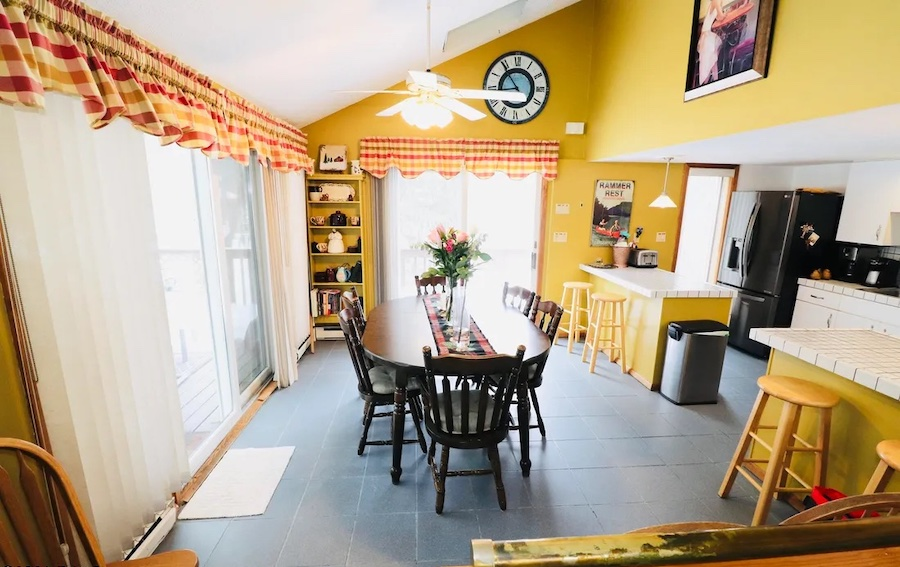 house for sale Greentown expanded a-frame dining room