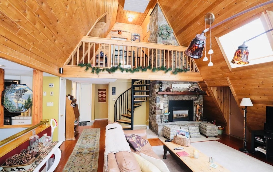house for sale Greentown expanded a-frame living room
