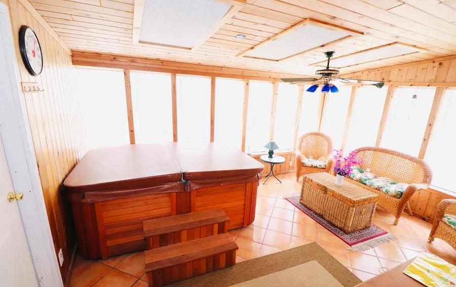 sunroom and hot tub