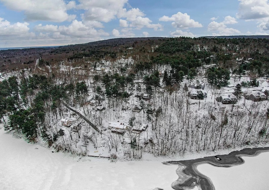 house for sale Lake Wallenpaupack lakeside cottage aerial view of site