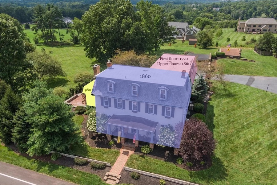 house for sale Worcester expanded farmhouse aerial view