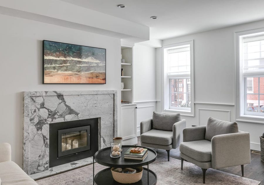 house for sale Rittenhouse Square renovated townhouse living room