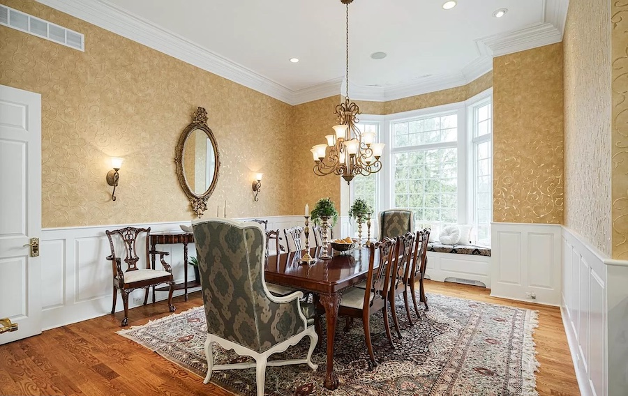 house for sale rose valley Georgian manor dining room