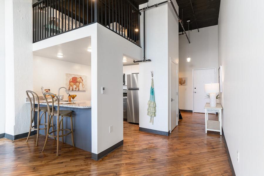 sleeping loft and kitchen