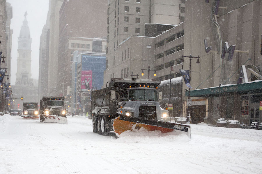 a philadelphia snowplow, which will soon be trackable by residents on PlowPHL, an upcoming Philadelphia snowplow-tracking app