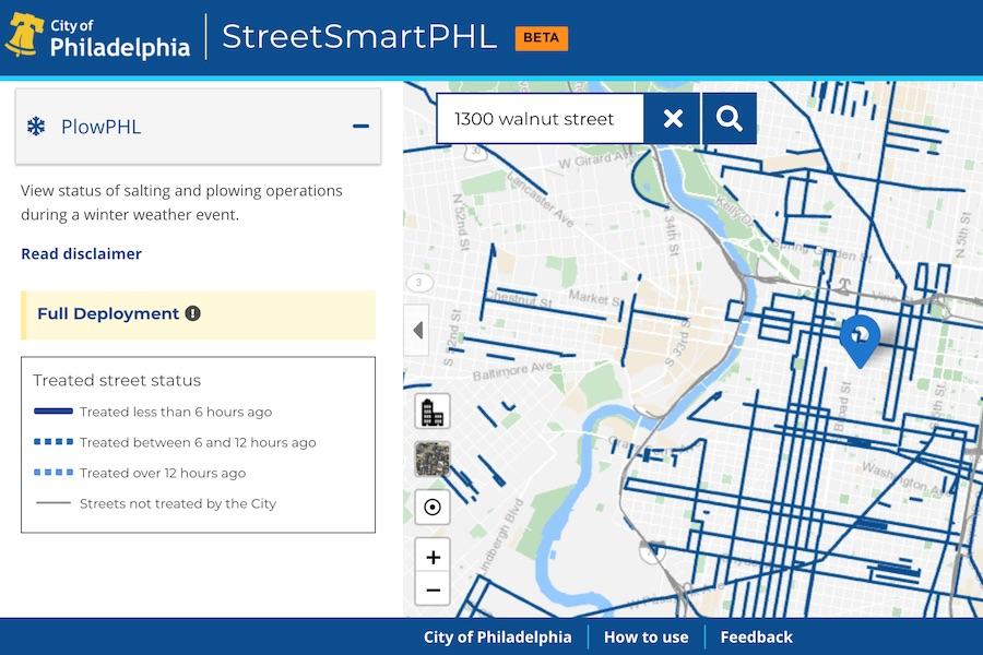a screenshot of plowphl, the new philadelphia snowplow tracking app