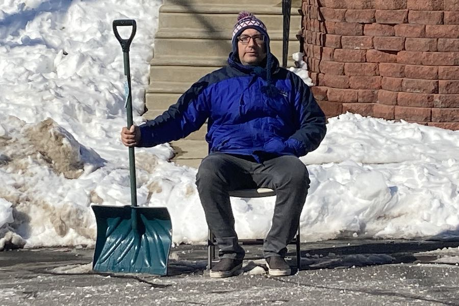 the author, saving his parking spot in philadelphia after the snowstorm