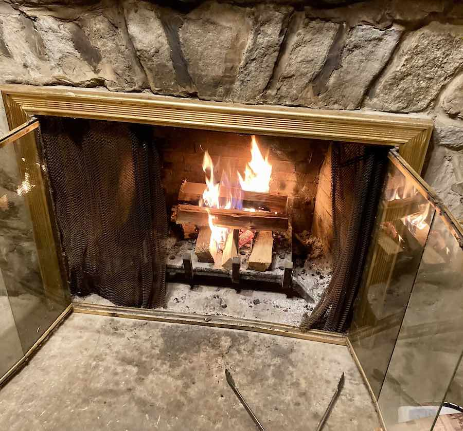 a fireplace inside a cabin at Parker Dam State Park in Pennsylvania