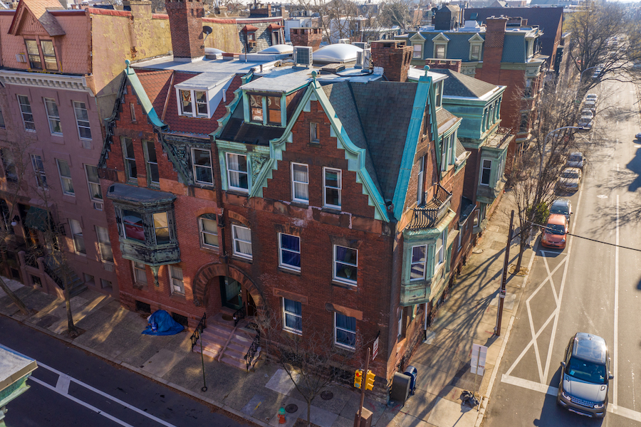 house for sale Frank Furness filter square mansion aerial view