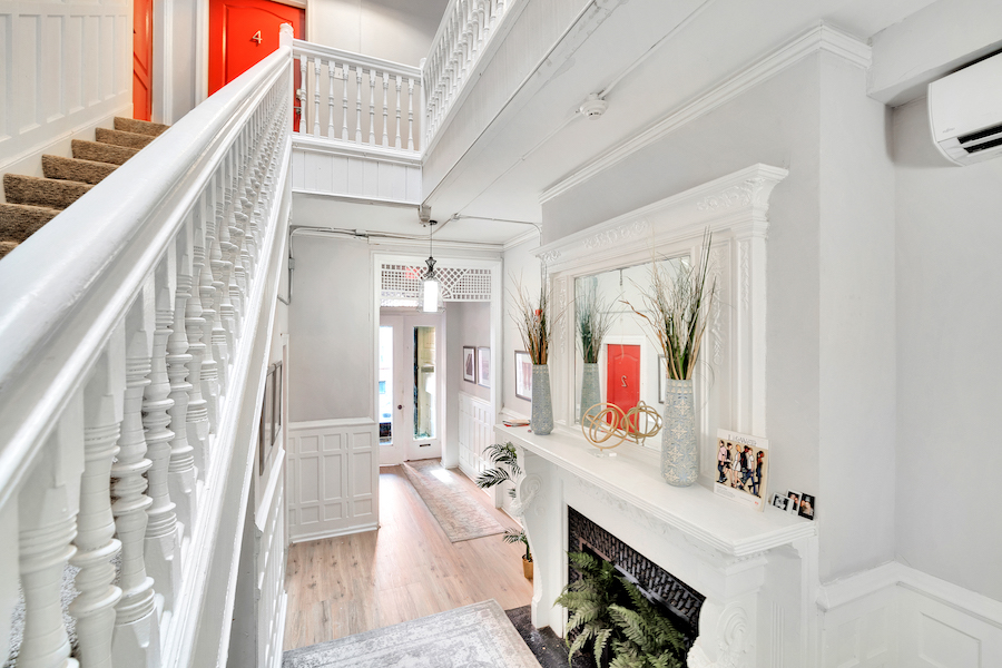 house for sale Frank Furness filter square mansion vestibule and lobby