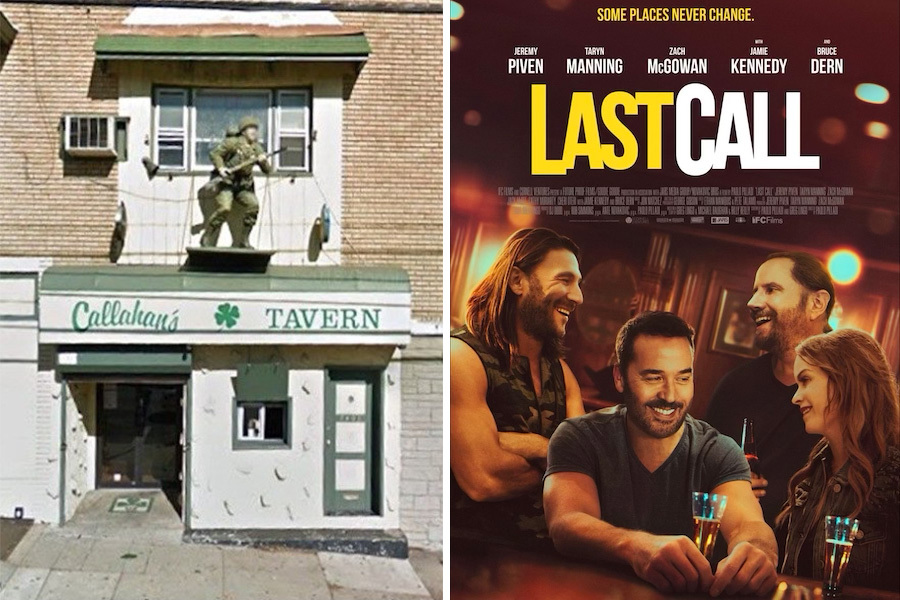 on the left is callahan's bar in upper darby, which served as inspiration for the jeremy piven movie last call, depicted on the right in the movie poster