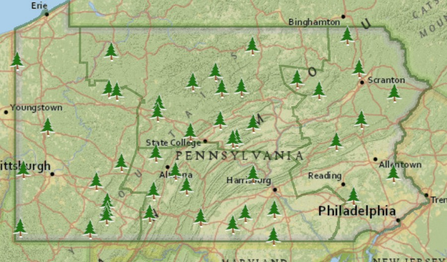 a map of state parks with cabins and yurts in pennsylvania