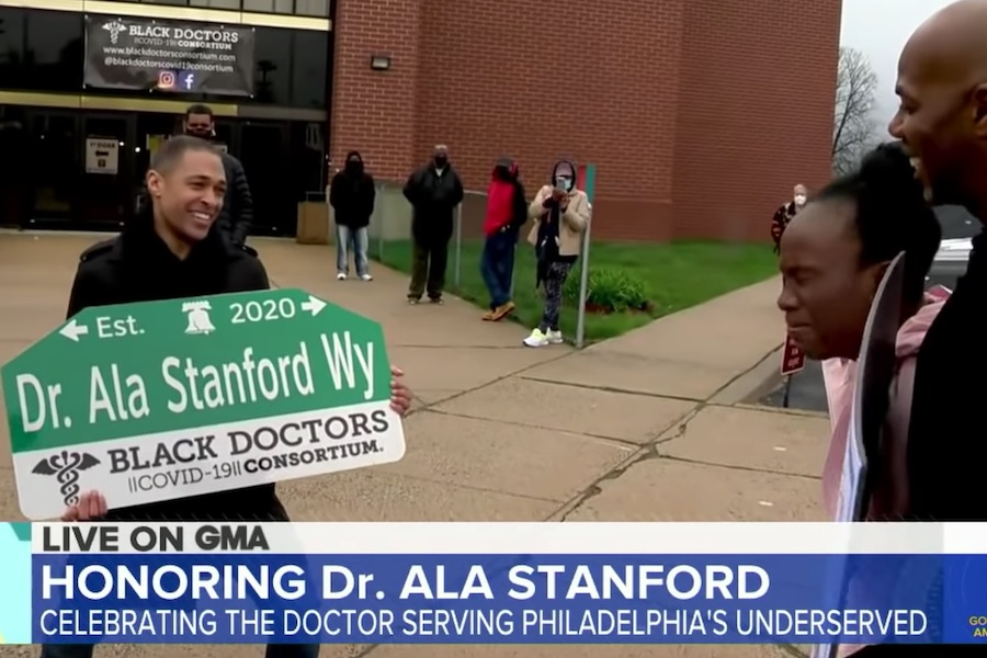 good morning america gives ala stanford an ala stanford street sign in philadelphia
