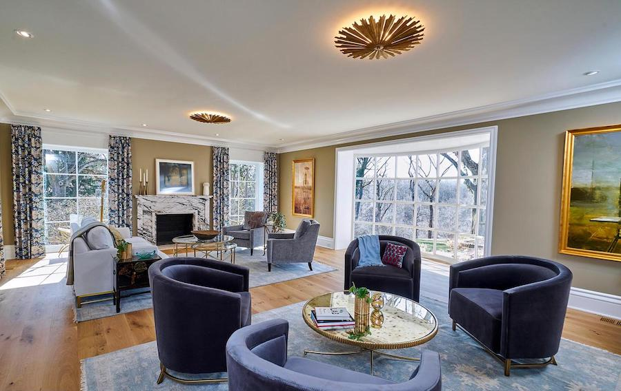house for sale Chestnut Hill renovated colonial living room