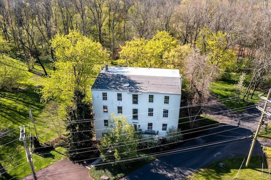 house for sale Harleysville grist mill exterior front overhead view