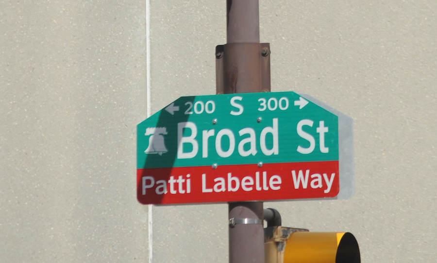 a patti labelle street sign in philadelphia, an example of ceremonial street renaming