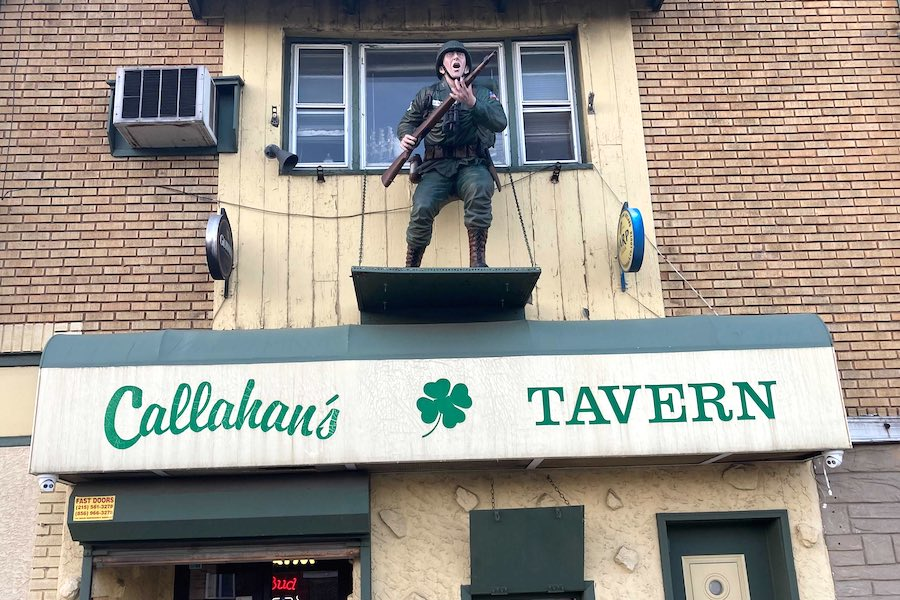 the callahan's tavern solider statue in upper darby in delco