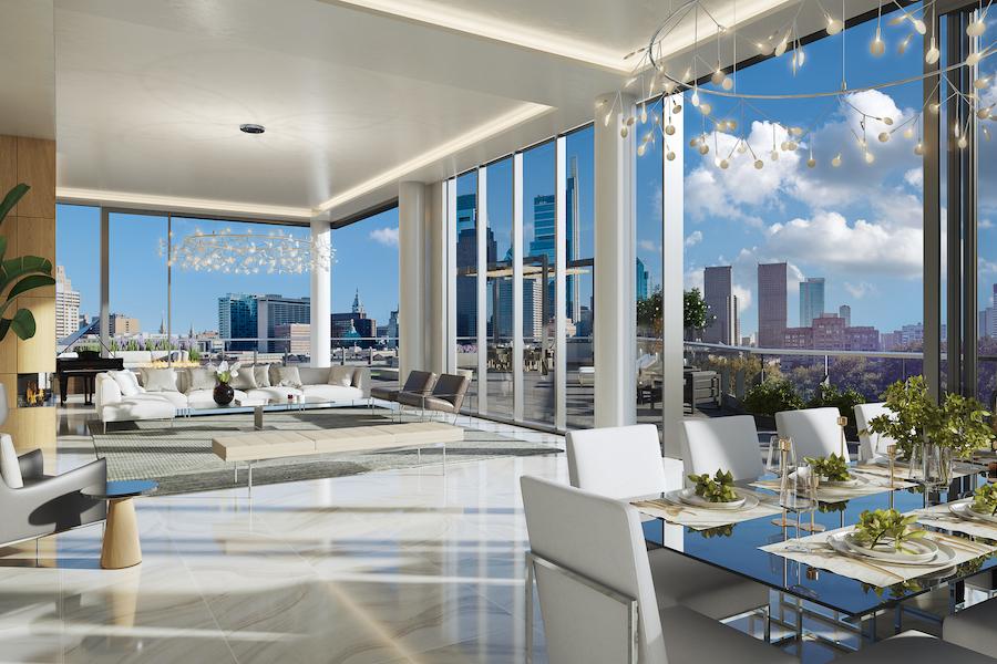 condo for sale Logan Square penthouse condo for sale Logan Square penthouse dining and living room