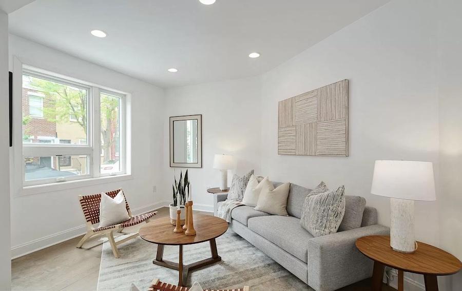 house for sale graduate hospital expanded rowhouse living room