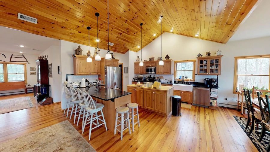 house for sale Hawley modern rustic lodge kitchen