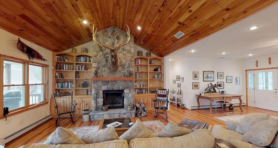 house for sale Hawley modern rustic lodge living room