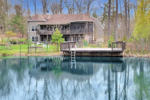 house for sale Hawley modern rustic lodge exterior rear